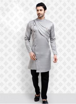 Grey And Black Kurta Pajama For Men