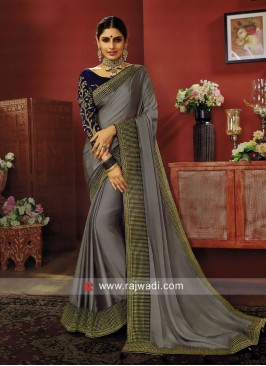 Grey Border Work Saree with Blouse