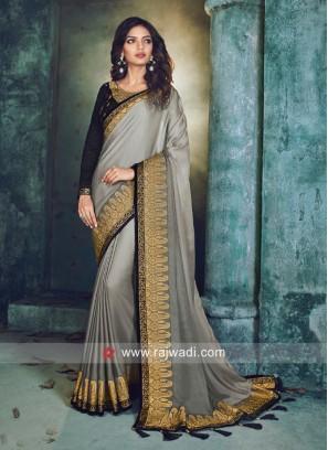 Grey Border Work sari with Black Blouse