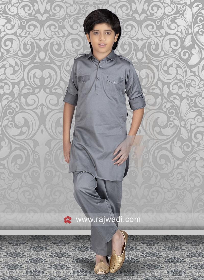 Grey Boys Pathani Suit