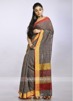 Grey casual saree with red checks
