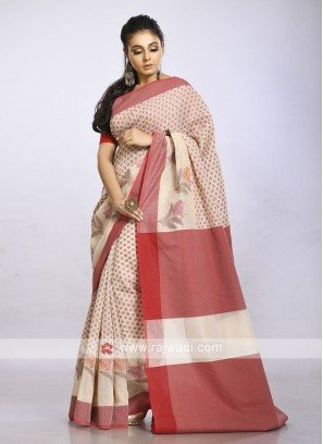 Beige casual saree with red print