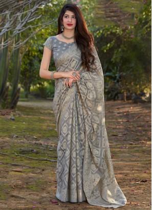 Grey Ceremonial Silk Designer Traditional Saree