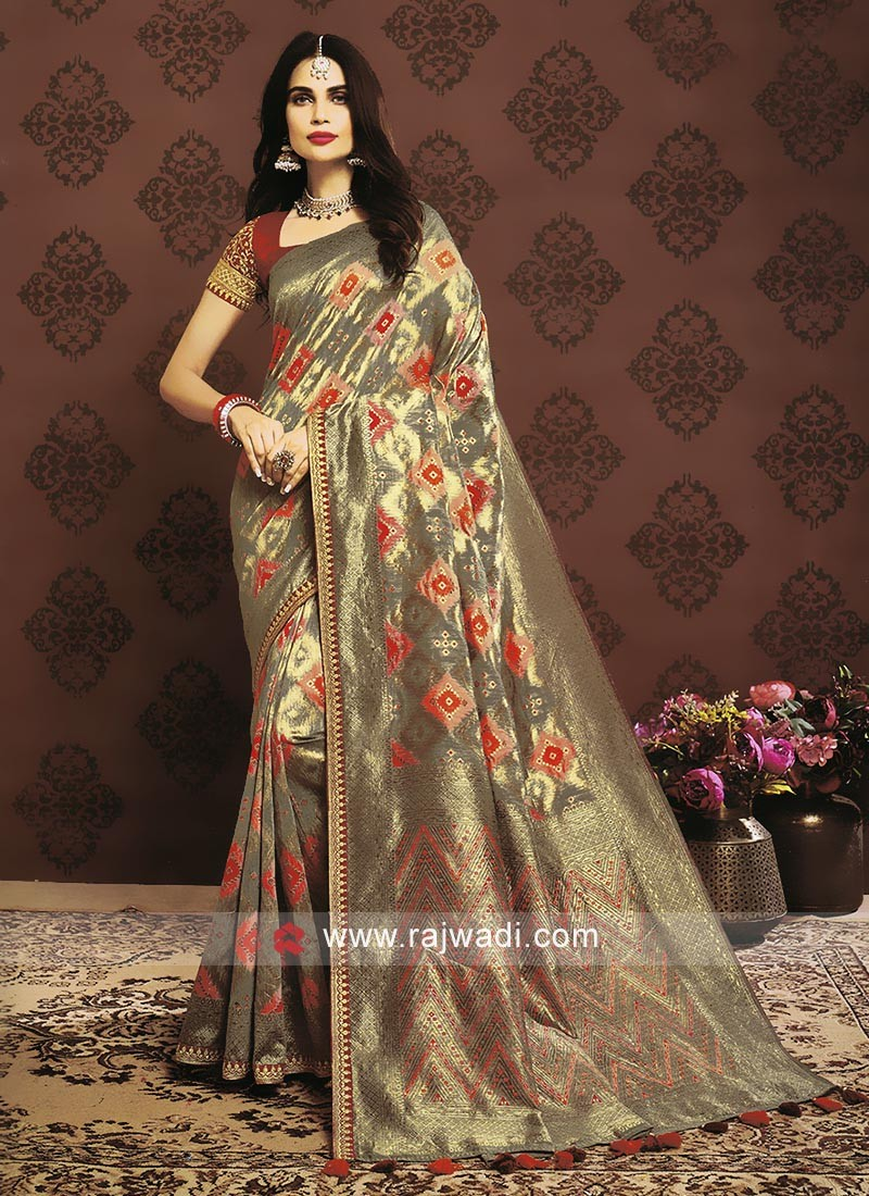 Grey Color Banarasi Silk Saree