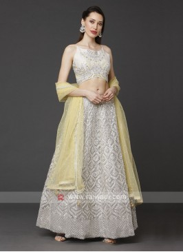 Grey Color Designer Choli Suit