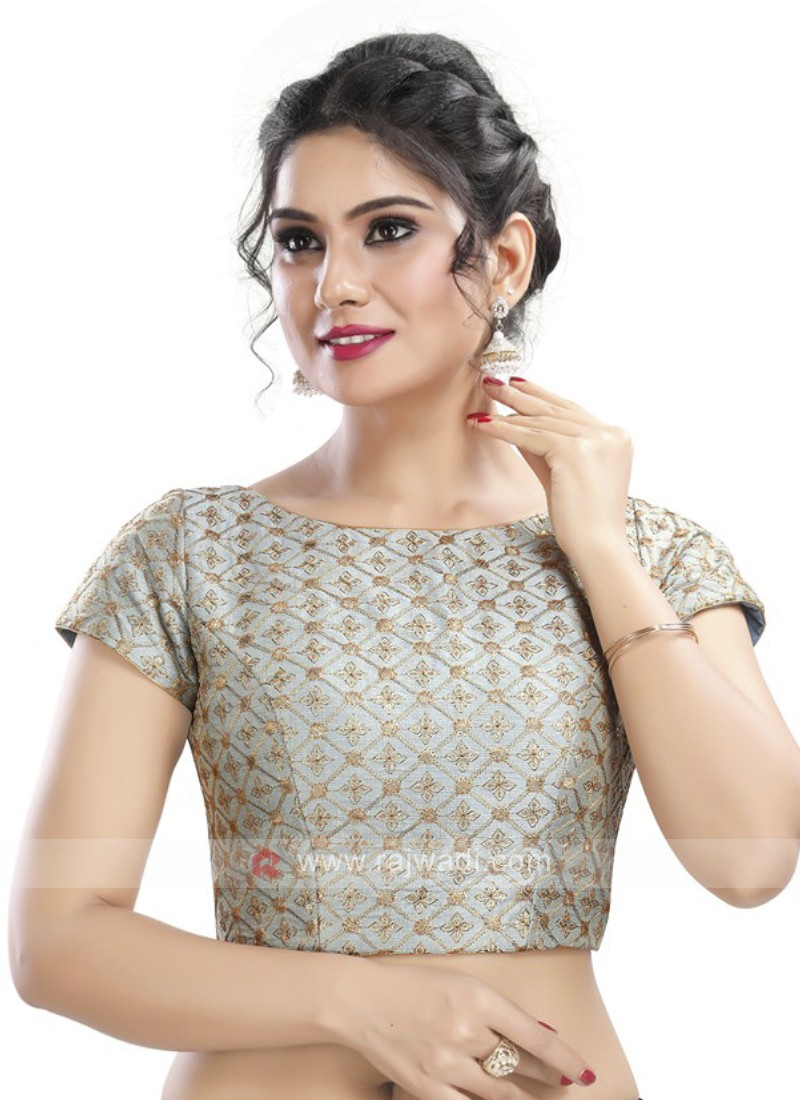 Grey Color Embroidery Ready Blouse