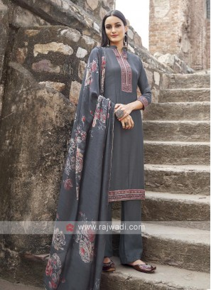 Grey Color Embroidery Suit