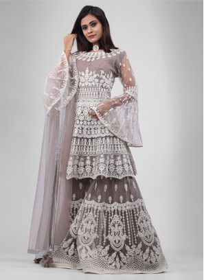 Grey color Gharara Suit with dupatta