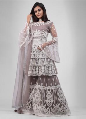 Grey color Gharara Suit with dupatta