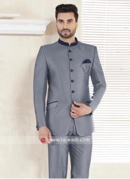 Grey Color Imported Fabric Jodhpuri Suit