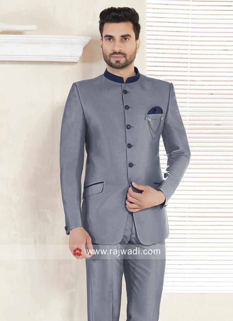 Grey Color Imported Fabric Jodhpuri Suit