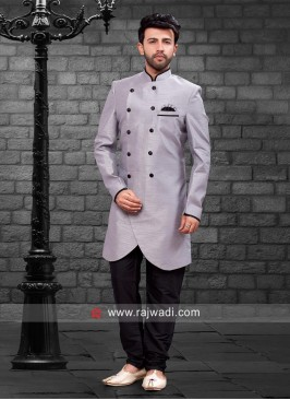Grey Color Indo Western With Fancy Buttons