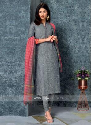 Grey Color Kurta with Churidar & Dupatta