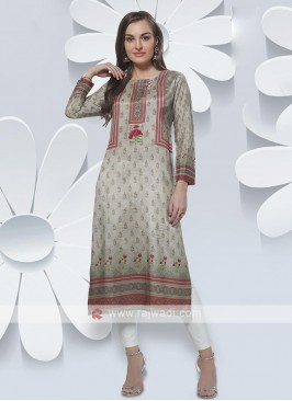 Grey Color Kurti In Crepe Silk