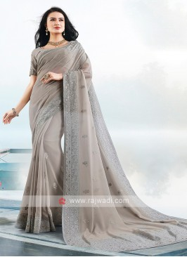 Grey Color Lucknowi Work Saree