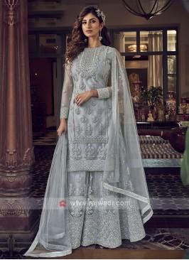 Grey Color Net Dress Material
