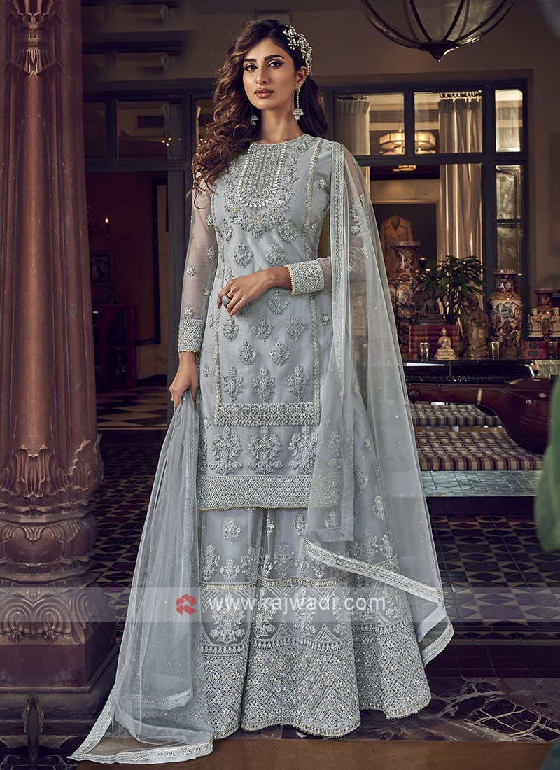 Grey Color Net Dress Material