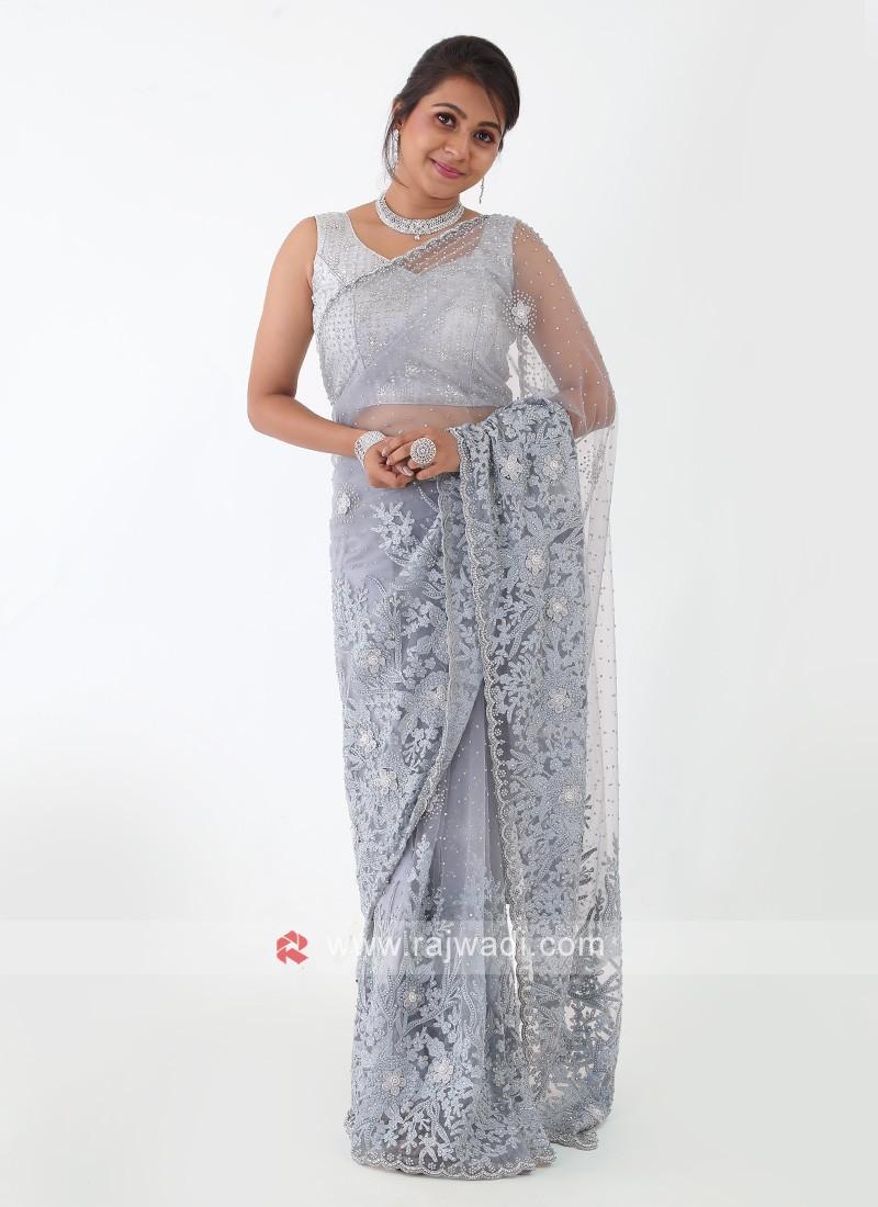Grey Color Net Fabric Saree