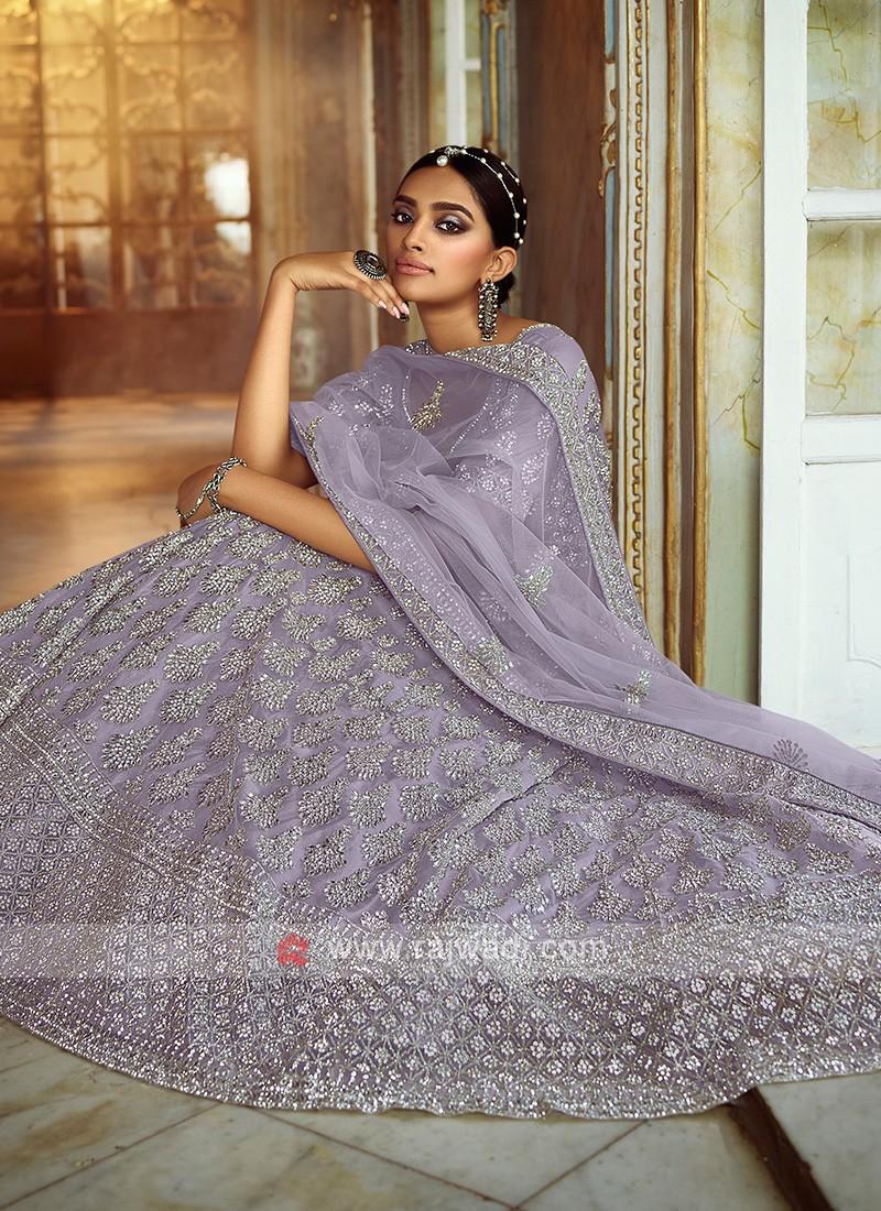 Grey Color Net Lehenga Choli