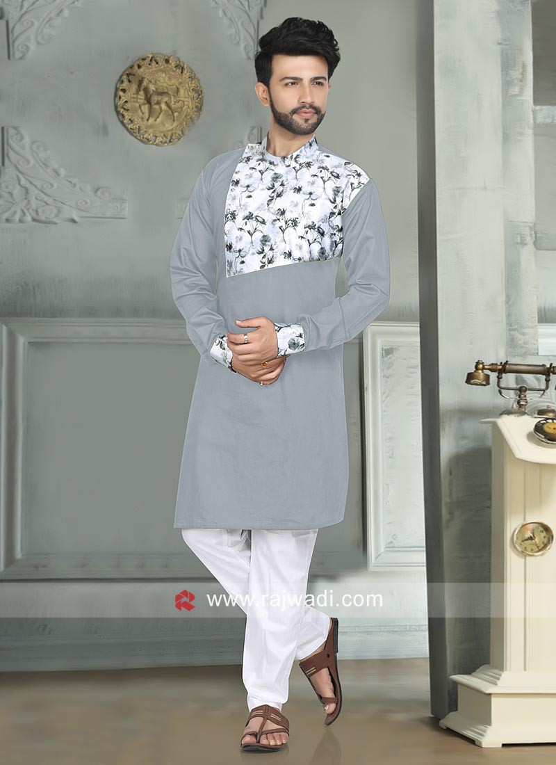 Grey Color Pathani Set