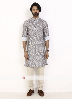 grey color printed kurta