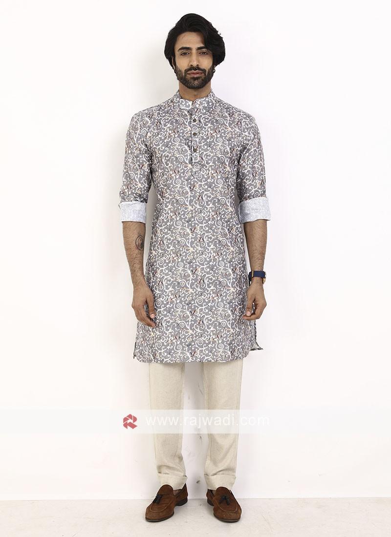 grey color printed kurta