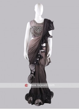 Grey color ruffle saree