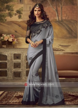Grey Color Saree with Blouse