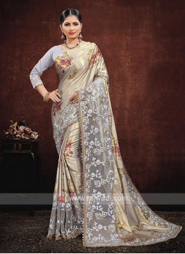 Grey Color Satin Silk Saree
