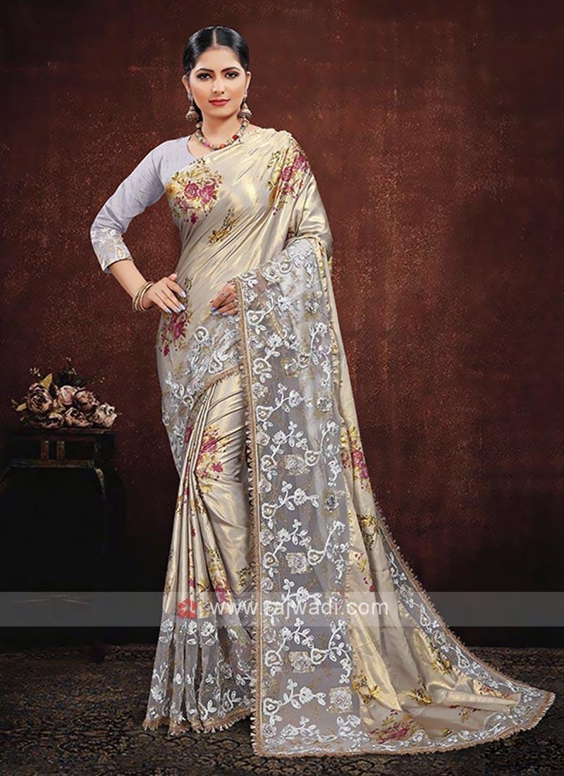 Grey Color Satin Silk Saree