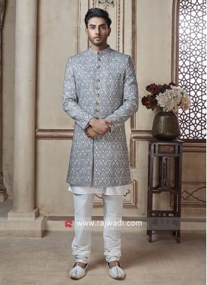 Grey Color Sherwani for Wedding