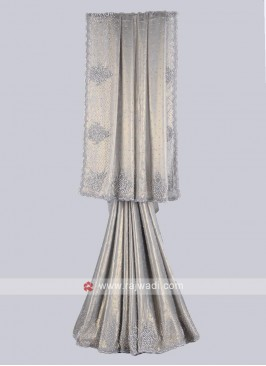 Grey color shimmer silk saree