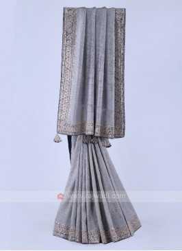 Grey Color Shimmer Silk Saree.