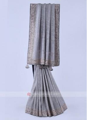 Grey Color Shimmer Silk Saree.