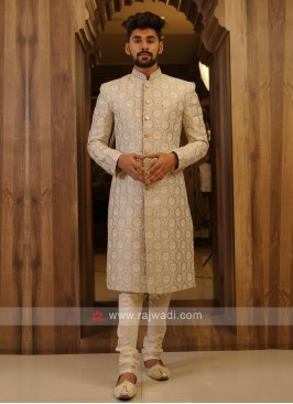 Grey Color Silk Sherwani