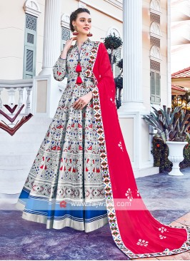 Grey Colour Anarkali Suit With Contrast Dupatta