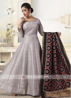 Grey Colour Anarkali Suit With Dupatta