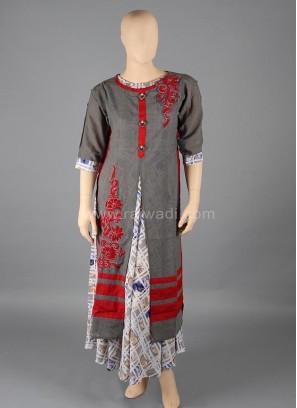 Grey coloured Art Silk Kurti