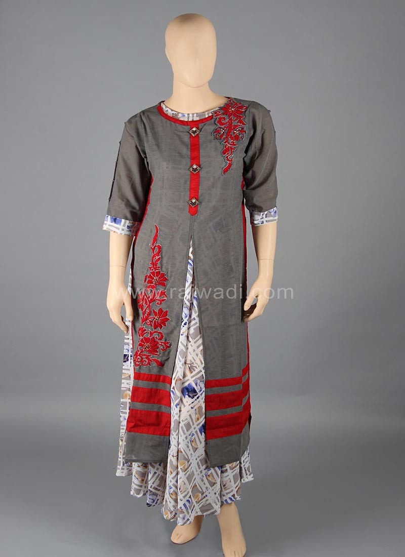 Grey coloured Art Silk Kurti