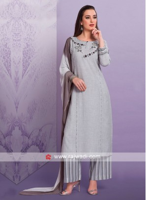 Grey Cotton Palazzo Suit