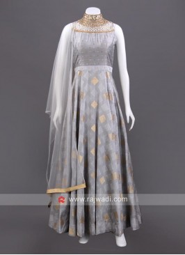 Grey Cotton Silk Anarkali Set