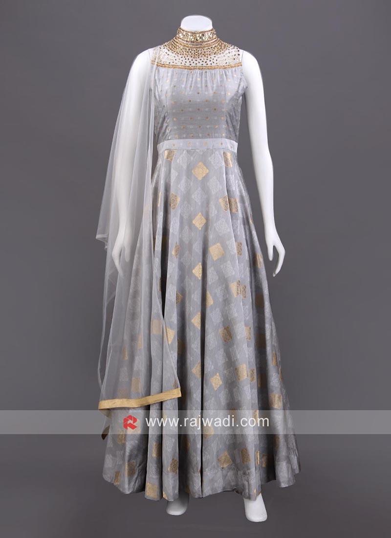 Grey Cotton Silk Anarkali Set