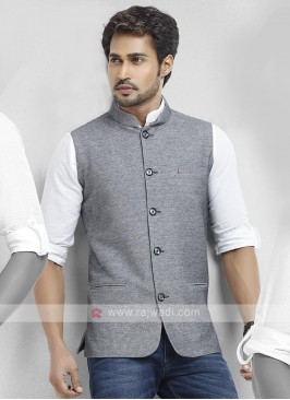 Cotton Silk Grey Color Nehru Jacket