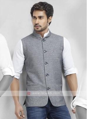 Cotton Silk Grey Color Nehru Jacket