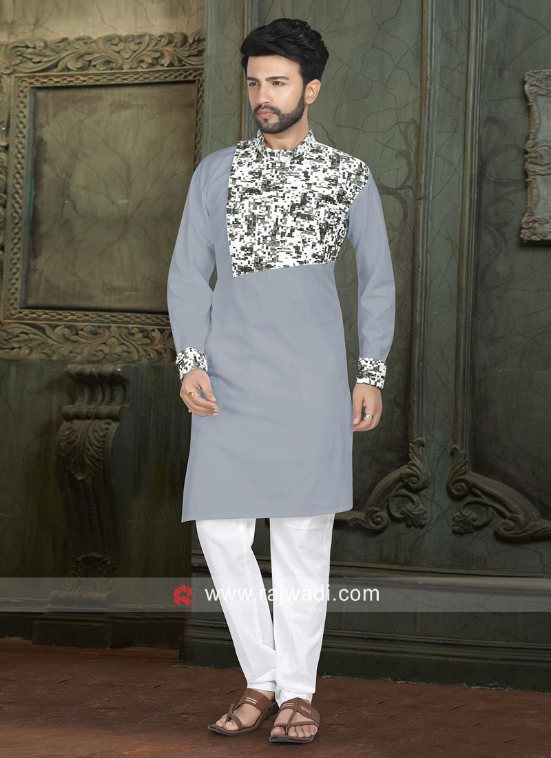 Grey Cotton Silk Pathani Suit