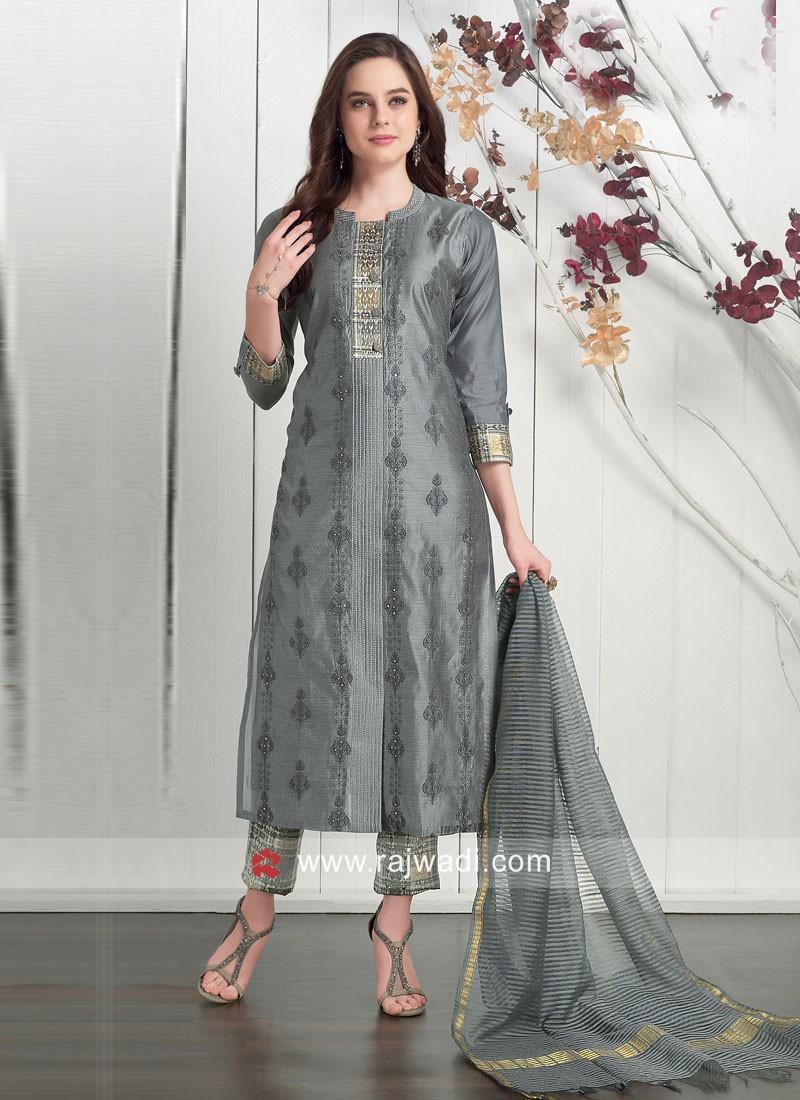 Dressline Grey Cotton Silk Trouser Suit with Dupatta