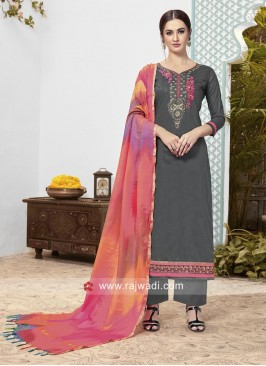 Grey Cotton Trouser Salwar Kameez