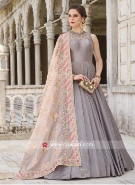 Grey Designer Anarkali Dress