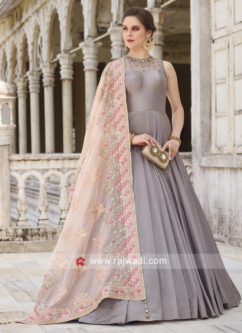 Grey Designer Anarkali Dress
