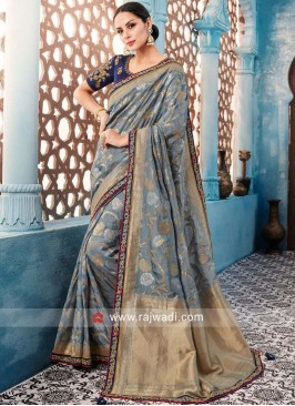 Grey Designer Banarasi Silk Saree